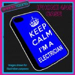 FITS IPHONE 4 / 4S PHONE KEEP CALM IM A  ELECTRICIAN PLASTIC COVER BLUE